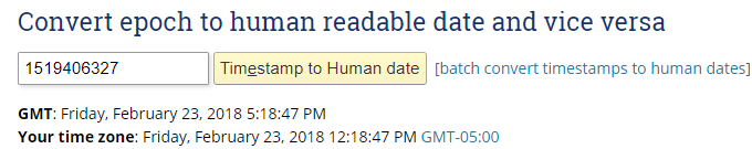 UNIX timestamp converted to human timestamp