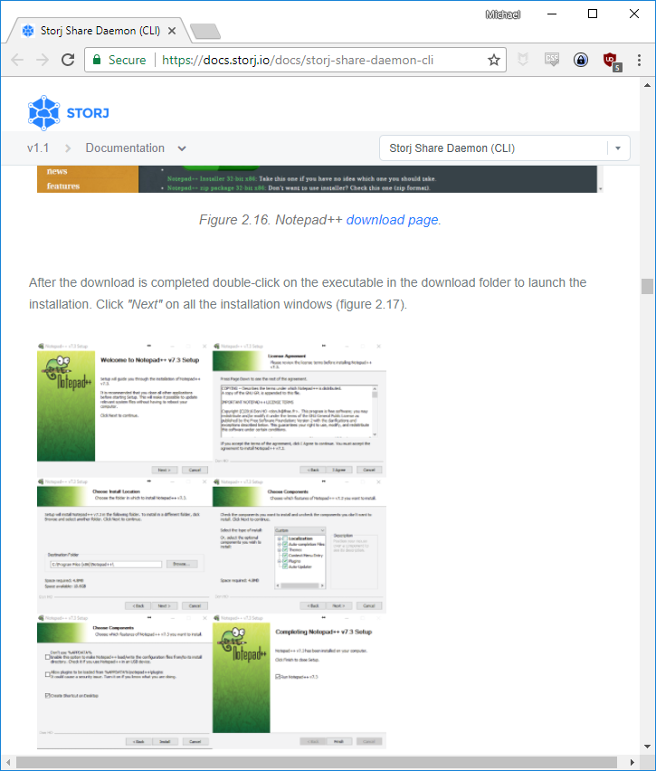 Screenshot of Storj documentation